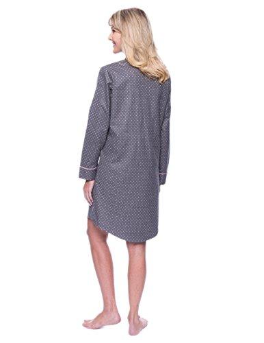 Noble Mount Camisa de Pijama de 100% Franela de Algodón para Mujer Puntos Carbón