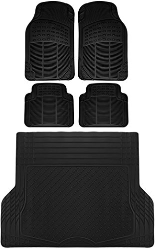 OxGord 5pc Full Set Ridged Rubber Floor Mats, Universal Fit Mat for SUVs Vans- Front Rear, Driver Passenger Seat, and Trunk Liner Black (Set Rear Mat Heavyweight)