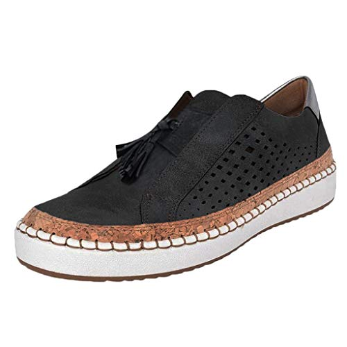 LOOKAA Running Sneakers for Women Fringe Hollow-Out Round Toe Slip On Shoes Flat with Trainers