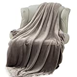Extra Long King Blanket Moonen Flannel Blanket Luxurious King Size Lightweight Plush Microfiber Fleece Comfy All Season Super Soft Cozy Blanket for Bed Couch and Gift Blankets (Grey, 90x108 Inches)