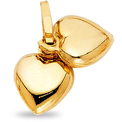 Two Puffed Hearts Pendant Solid 14k Yellow Gold Love Charm Polished Womens Small 8 x 20 mm Double Puffed Hearts