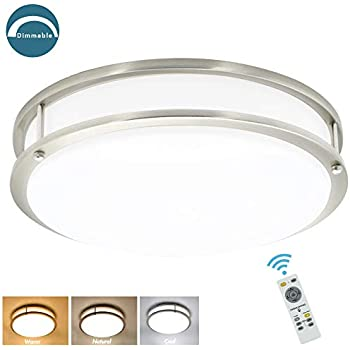 DLLT 30W Dimmable LED Flush Mount Ceiling Light Fixture with Remote-14 Inch Round Ceiling Lighting for Living Room/Kitchen/Bedroom/Dining Room, 3 Light Color Changeable