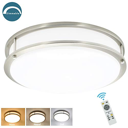 - DLLT 30W Dimmable LED Flush Mount Ceiling Light Fixture with Remote-14 Inch Round Ceiling Lighting for Living Room/Kitchen/Bedroom/Dining Room, 3 Light Color Changeable