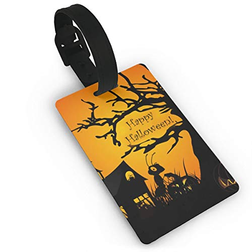 Happy Halloween Luggage Tags, Travel Luggage Labels for Luggage Suitcases Bags,Business Card Holder Travel ID Bag Tag ()