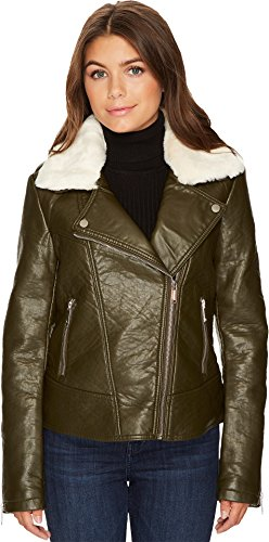 Leather Straight Collar Coat (French Connection Women's Detachable Faux Fur Collar Pleather Loden Outerwear)