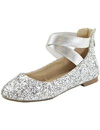 Girl Kids Dress Ballet Flat Elastic Ankle Strap Faux...