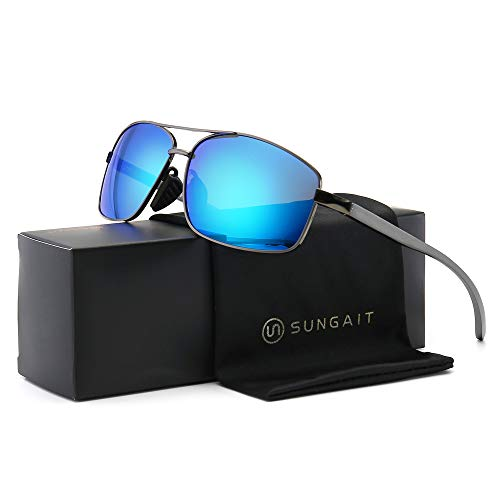 SUNGAIT Ultra Lightweight Rectangular Polarized Sunglasses 100% UV protection (Gunmetal Frame Blue Mirror Lens, 62) Metal Frame New-2458 QKLA