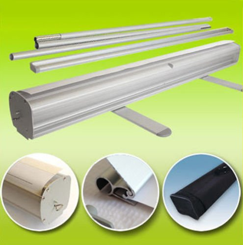 GHP 36''x79'' Aluminum Retractable Roll Up Banner Stands for 35.5''x79'' Banner by Globe House Products