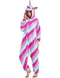 Unisex Womens Onsies Pajamas Unicorn Animal Soft Fleece Flannel All in One  Jumpsuit Party Costume c83539048