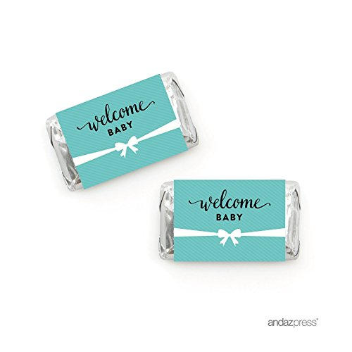 Andaz Press Baby & Co. Baby Shower Collection, Chocolate Minis Labels, Fits Hershey's Miniatures Party Favors, 36-pack