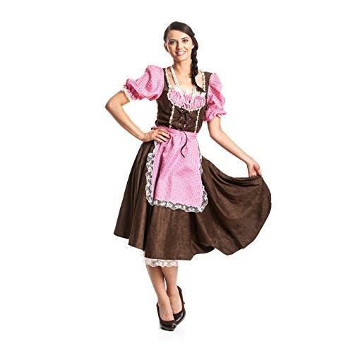 Kostümplanet® Dirndl Kostüm für Damen im traditionellen Trachten Look mit Bluse und Schürze, Größe: 48 / 50, Farbe: braun-pink-rosa, Bekleidung, Outfit für Karneval, Fasching, Halloween - Damen Oktoberfest-Kostüm
