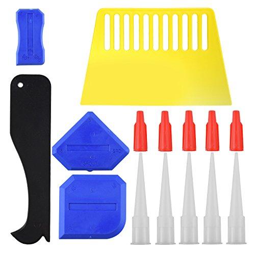WXJ13 15 Pieces Caulk Finishing Tool Kit, Caulk Caps Sealant Finishing Tool for Bathroom Kitchen and Floor Sealing (Blue,Black,White,Red)