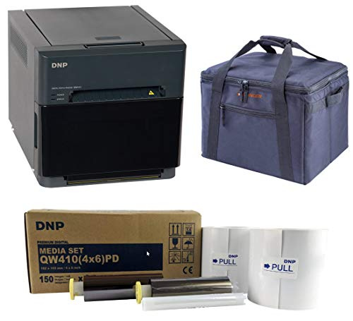 DNP QW410 4.5-inch Dye-Sublimation Professional Event Photo Booth Printer Essential Bundle with 4×6-inch Digital Media, 2 Rolls (300 Total Prints), Slinger Printer Case