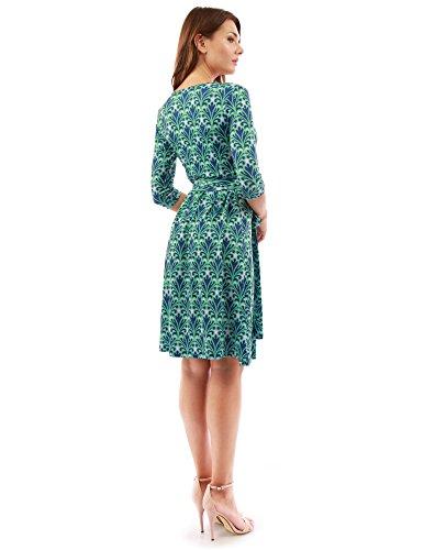 Bleu Manches En Rose Col 4 Géométrique Robe Et 3 Croisée À Vert V Motif Femmes Pattyboutik BOwtaa