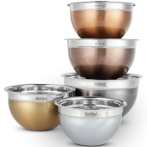 VonShef Nested Mixing Bowl Set With Lids, Non Slip Surface and Measurement Marks, Stainless Steel Mirror Finish Bowls (5 Piece - Metallic) ()