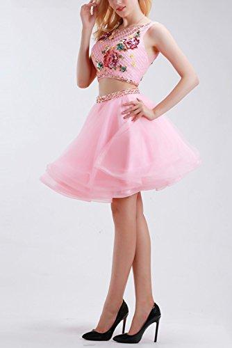 Bridal_Mall - Robe - Trapèze - Sans Manche - Femme Rose Rose 34 -  Rose - 36