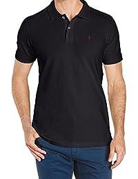 FACONNABLE Navy Blue Pique 100% Cotton Short Sleeve Logo Polo