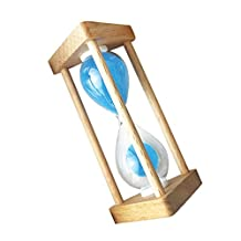Dovewill 9cm Height Red/Blue Wooden 1/3/5/10 Minutes 30/90 Seconds Hourglass Sandglass Sand Timer Clock for Reading Studying Exercising Taking a Rest - 30 Seconds Blue