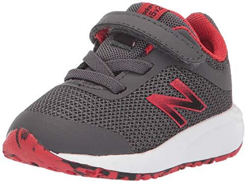 New Balance Boys' 455v2 Running Shoe, Magnet/Velocity Red, 9 W US Toddler