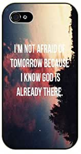 I am not afraid of tomorrow because I know God is already there - Pink nebula - Bible verse iPhone 4 / 4s black plastic case / Christian Verses