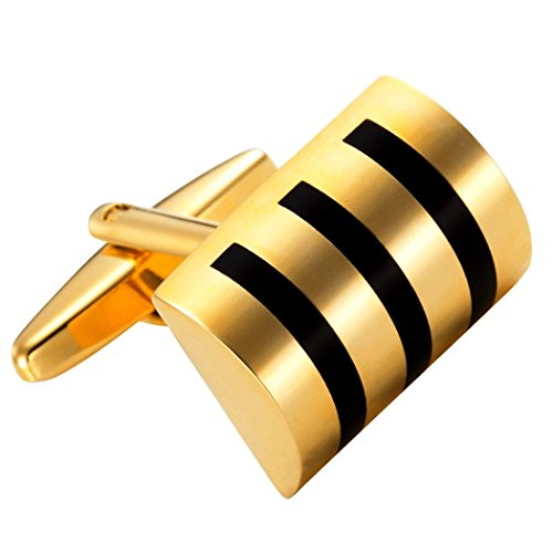 Attractive Stainless Steel Whiskey Barrel Gold Cufflinks for Men
