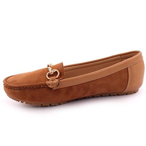 Unze Neue Frauen Ciara Büro Gestickt Details Metallische Faltschließe Casual Slip on Mokassin Zu Fuß Flach Pumpe Schuhe UK Größe 3-8 - 6Z666-068 Kamel
