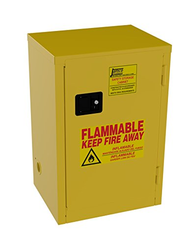 Jamco Products Inc BA12-YP 12 Gallon Safety Cabinet, for Flammable liquids, Manual Close, One Door, 23-Inch x 18-Inch x 35-Inch - Flammable Liquid Cabinet Manual