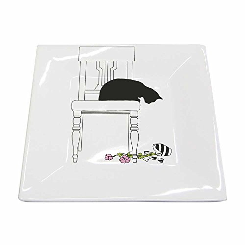 Paperproducts Design New Bone China Small Square Plate Featuring Black Cat Vase Design, 5.75 x 5.75