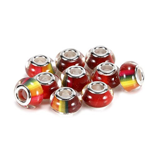 BRCbeads Top Quality 10Pcs Silver Plate Rainbow Color Resin Murano Lampwork European Glass Crystal Charm Beads Spacers Fit Troll Chamilia Carlo Biagi Zable Snake Chain Charm Bracelets. (Rainbow Murano Glass)