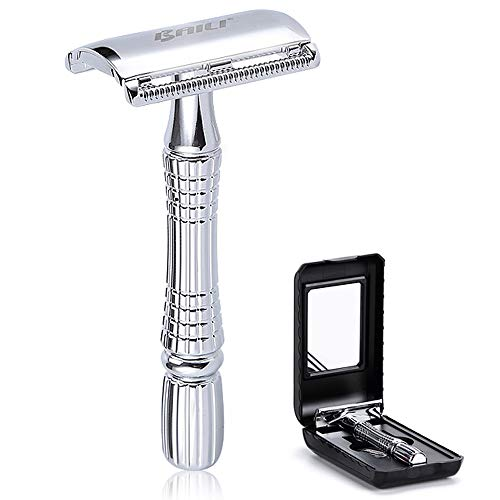 BAILI Classic Barber Double Edge Safety Razor Shaver Knife Personal Beard Hair Care +1 Swedish Blade +Mirrored Travel Case, Silver Color, BD176