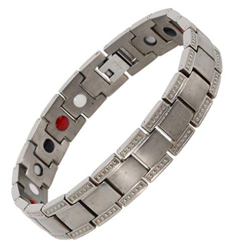 Mandala Crafts Men Titanium Bracelet Magnetic Wristband with Ion Germanium Magnet 4 Elements, Masculine Link (Gray) ()