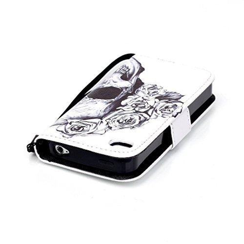 Pour iphone 4 4s Portefeuille Coque Etui, Ougger(TM) Rose Crâne [Dragonne] Durable PU Cuir Bourse Flip Rabat Fente Carte Stand Magnétique Fermeture Protecteur Housse Coque Etui