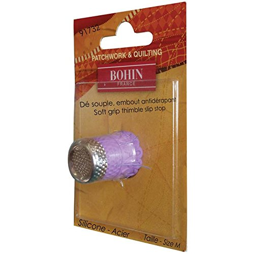 Bohin Silicon Thimble with Steel Top Size Medium Purple - Blister Pack by Bohin