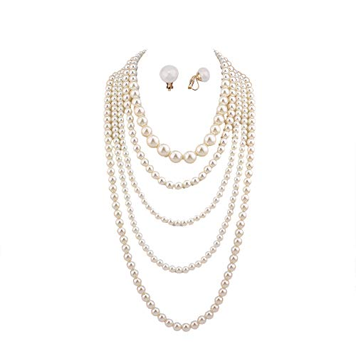 GRACE JUN Multilayer Strand Simulated Pearl Statement Necklace and Clip on Earrings Set Women Long Sweater Chain Choker Necklace (White)