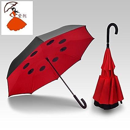 Marcha atrás Paraguas Cartabón reverso Monocromática plana doble c-manos libres-respaldo inversa paraguas