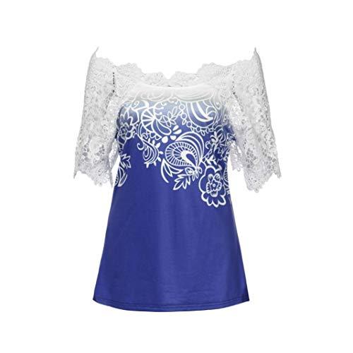 Casual Creux Rond Shirt Col Branch Et Dos Courtes Shirts Costume Jeune Mode Mode Blouse Elgante Chic Nu T Chemise Impression Blau pissure Modle Shirt Femme Dentelle Manches RxYpUwO