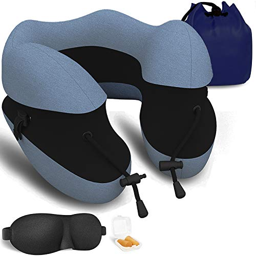 Travel Pillow Best 100% Pure Memory Foam Neck Pillow Support Head Soft & Comfortable Pillow with Machine Washable for Sleeping Rest,Airplane Travel Kit with Eye Masks, Earplugs and Luxury Bag Blue