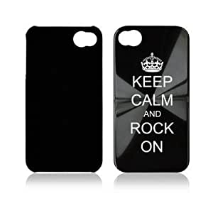 Apple iPhone 4 4S 4G Black A1341 Aluminum Hard Back Case Cover Keep Calm and Rock On