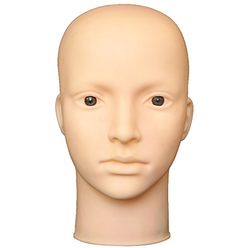 Bald Makeup (Soft Vinyl Multifunctioal Female Bald Mannequin Head Makeup Massage Training Wig Making Hat Sunglasses Display Mannequin Model Head)