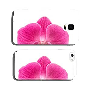Orchid flower head isolated on white background. Pink blossom cell phone cover case Samsung S6