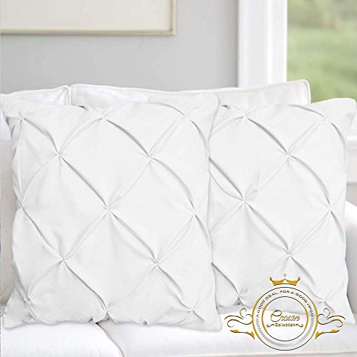 European Tailored Sham - Crown Collection Pinch Pleated White Pillow Pillow Sham Set of 2pc Luxury 600-TC 100% Egyptian Cotton Cushion Cover Euro Size Decorative Pillow Cover Tailored Poplin European Pillow Sham