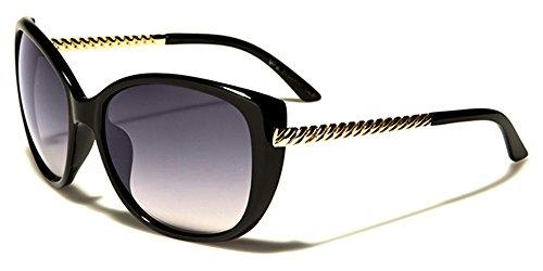de UV400 INCLUIDO Vibrante Para Cabaña Oro Ovalado Diseñador VG BOLSA MICROFIBRA Dama Moda COMPLETO GRATIS sol Negro Protección De Gafas nwv1AAqx0W