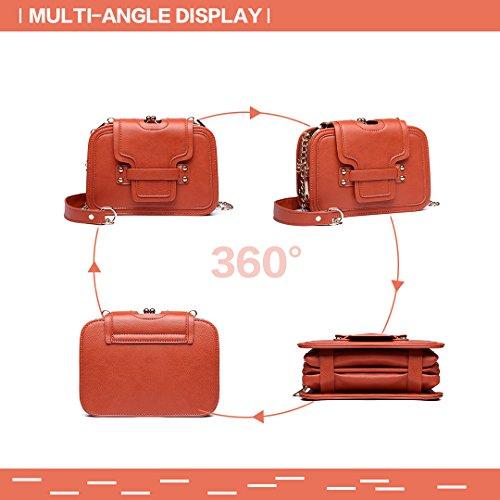 Clutch Chain Closure Orange Lulu Women Leather With Crossbody Clasp Shoulder Miss Multi 6711 Style Pu Bag Handbag Casual Compartments OC1BAq