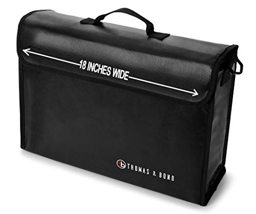 Thomas & Bond Extra Large Fireproof Bag 18x12x5 Holds Legal Size Files and Binders Without Bending. A Large Fireproof Document Bag With Non Itchy Water Resistant Heat Protection ()