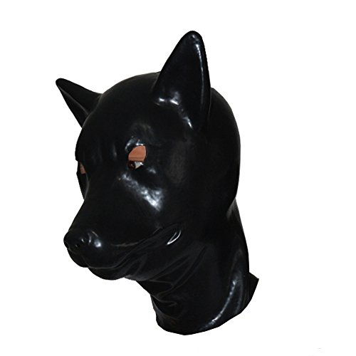 [EXLATEX Latex Hood Wolf Animal Rubber Mask Fetish Accessories with Zipper Closure (One size, Black)] (Latex Wolf Suit)