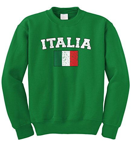 Cybertela Faded Distressed Italia Flag Crewneck Sweatshirt (Kelly Green, Small) - Green Distressed Crewneck
