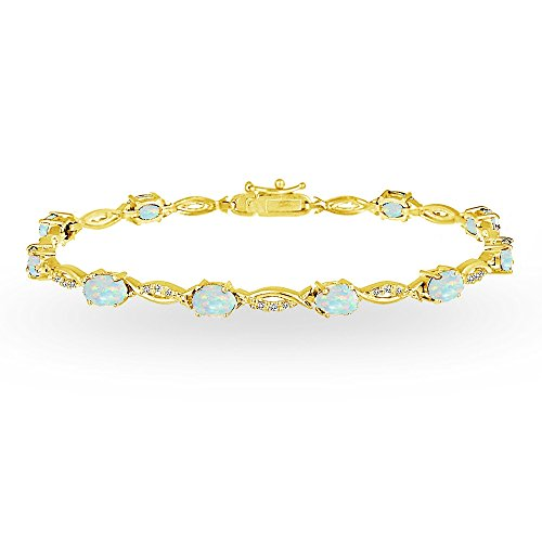 Gold Opal Bracelet (Yellow Gold Flashed Sterling Silver Simulated White Opal and White Topaz Oval-Cut Swirl Tennis Bracelet)