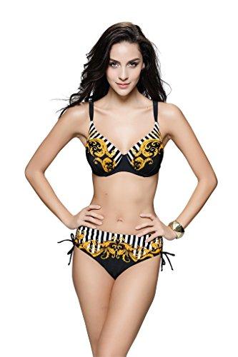 Le Besi Mujer Warp tejer rayas Boho Rhinestone elegante inspirado en bañador Negro