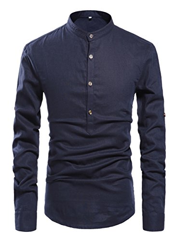 ZYFMAILY Men's Casual Long Sleeve Linen Henley T-Shirt Solid Beach Shirt, Navy Blue, X-Large