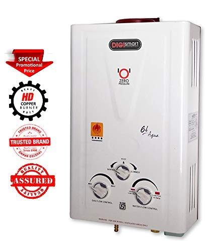 DIGISMART 6 LTR. Instant 100% Copper Tank with Anti Rust Coating Body to Saves Your Geyser from Corrosion by Water, ISI Approved LPG Gas Water Heater